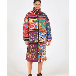 Mix Scarves Puffer Jacket