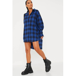 Cobalt Blue Woven Check Print Oversized Dip Hem Shirt Dress