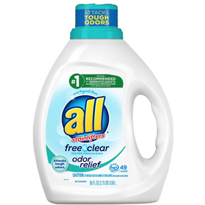 All Liquid Laundry Detergent, Free Clear With Odor Relief