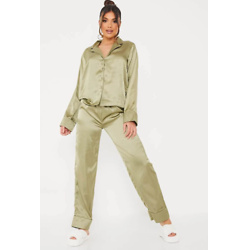 Sage Satin Pyjama Trouser Set