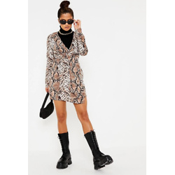 Brown Woven Snake Print Plunge Neck Knot Front Dress