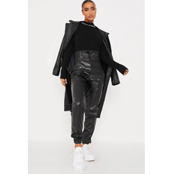 Black High Waist Cuffed Faux Leather Joggers