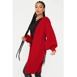 Deep Red Balloon Sleeve Knitted Cardigan
