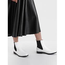 Two-Tone Mini Square Toe Chelsea Boots