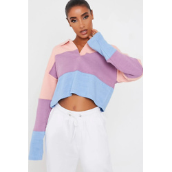 Lilac Colour Block Striped Long Sleeve Rugby Top