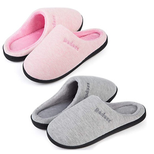 2 Pairs Women's Warm Soft Cozy Fleece Lining House Slippers