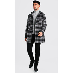 CHECK DUFFLE COAT WITH TOGGLES