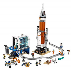 LEGO City Space Deep Space Rocket and Launch Control 60228 Model Rocket Building Kit with Toy Monorail,