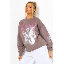 Snake Woman Sleeve Print Oversized Sweatshirt