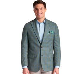Classic Fit Wool, Silk & Linen Windowpane Notch Lapel Sport Coat