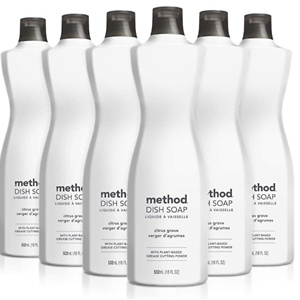 Method Liquid Dish Soap, Citrus Grove, 18 Fl Oz (Pack of 6)