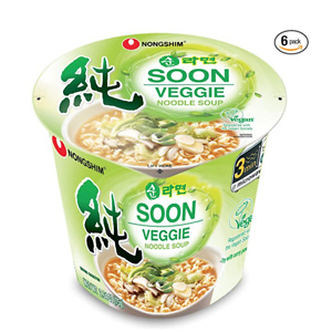 Nongshim Soon Cup Noodle Soup, Veggie, 2.6 Ounce (Pack of 6)