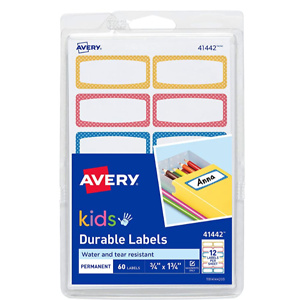 Avery Durable Labels for Kids' Gear, Assorted Border Colors