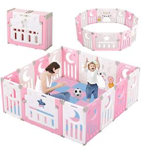Dripex 儿童可折叠安全围栏,14片粉色