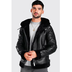 FAUX LEATHER AVIATOR WITH FUR TRIM