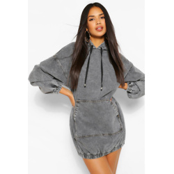 Hooded Denim Pullover Dress