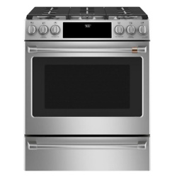 Cafe Deep recessed 6-Burner Self-cleaning and steam cleaning Convection Single Oven Dual Fuel Range