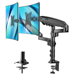 Dual Monitor Stand - Height Adjustable Gas Spring Double Arm Monitor Mount
