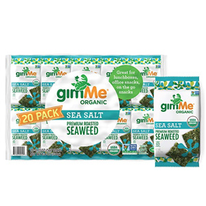 gimMe Organic Roasted Seaweed Sheets - Sea Salt - 20 Count - Keto