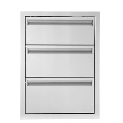BBQGuys Aspen Series 20-Inch Stainless Steel Triple Access Drawer