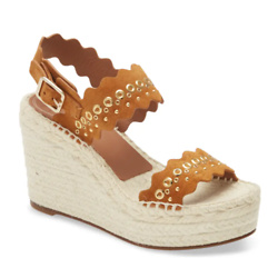 Lauren Grommet Stud Scalloped Wedge Platform Sandal
