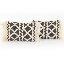 Grey Cross Woven Pillow, Set Of 2