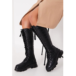 Black Quilted Chunky Sole Lace Up Knee High Boots
