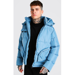 PATCH POCKET HOODED PUFFER