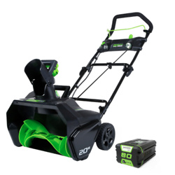 Greenworks Cordless Snowblower - 80 V - 20-in - Green and Black