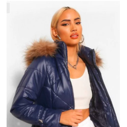 Faux Fur Trim Hooded Quilted Puffer Coat