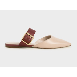 Satin Buckle Strap Mules