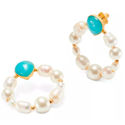 kate spade new york Gold-Tone Semi-Precious Stone & Imitation Pearl Door Knocker Earrings