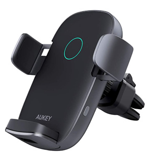 AUKEY Wireless Car Charger 10W Qi Fast Charging Auto-Clamping Car Phone Mount