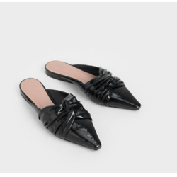 Wrinkled Patent Ruched Knot Mules