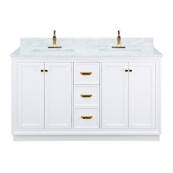 Foremost Everton 58-in Double Sink Natural Carrara White Bathroom Vanity With Natural Marble Top