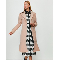 Ruffle Hem Belted Trench Coat