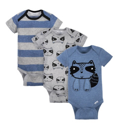 Gerber® Baby Boys Raccoon Short Sleeve Onesies® Brand Bodysuits (3-Pack )