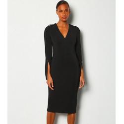 Long Sleeve Deep V Neck Pencil Dress