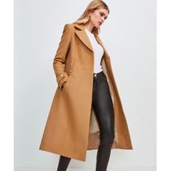 Minimal Military Wool Blend Coat