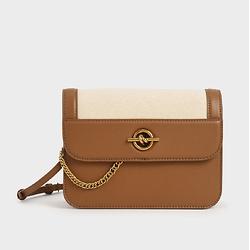Metallic Accent Chain Handle Bag