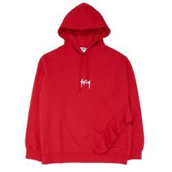 MSGM Ruffles Embroidered Micro Logo Hoodie - Red
