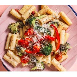 Veggie Pasta Primavera with roasted broccoli and Parmesan cheese