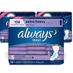 Always 夜用大容量卫生巾 36片 x 3盒 共108片