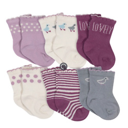 Baby Girls Grow by Gerber® Ducklings Organic Wiggle Proof Socks (6-Pack )