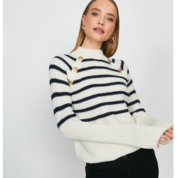 Brave Soul Stripe Jumper With Button Detail