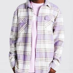 长袖格纹外套