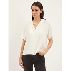 Short-Sleeved Camp Collar Blouse in White