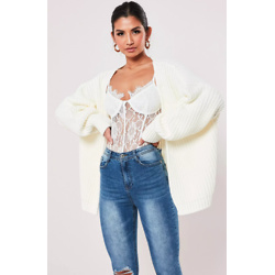 White Batwing Sleeve Oversized Knit Cardigan