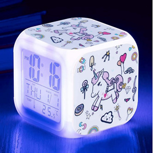 Qaxlry Unicorn Alarm Clocks,7-in-1 Night Light Kids Alarm Clocks