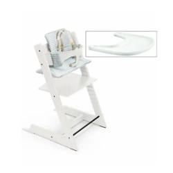Stokke Tripp Trapp Complete High Chair - White/Aqua Stripes